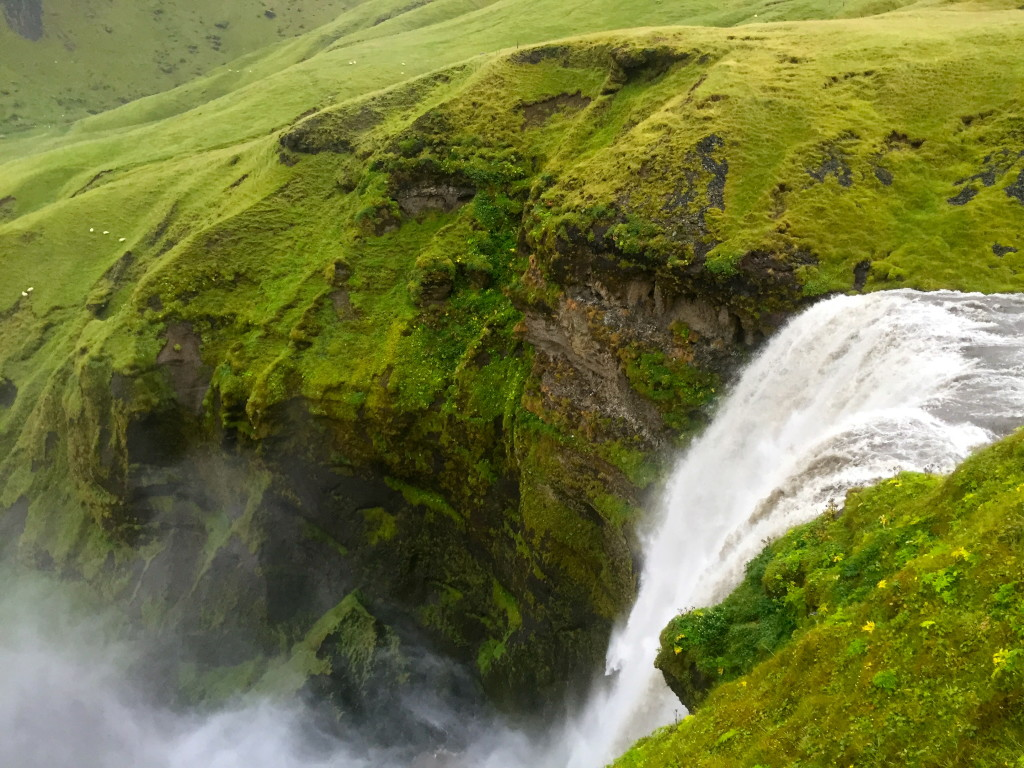 Aerial view Skogafoss waterfall in Iceland